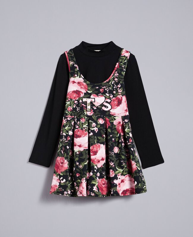 Robe en piqué imprimé et t-shirt Imprimé Roses / Noir Enfant GA82LC-01