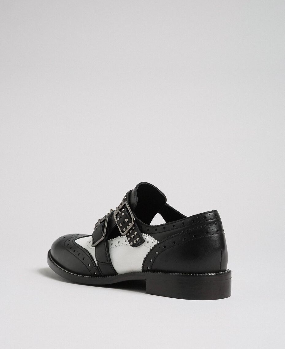 Leather shoes with tie up laces and studded straps Optical White / Black Woman 192TCP10U-02