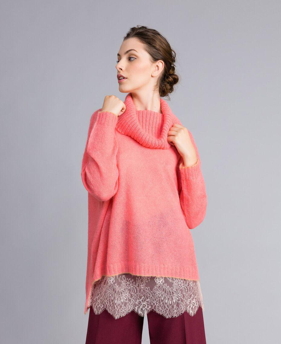 Pull en mohair avec top en dentelle Rose Royal Pink Femme PA836F-02