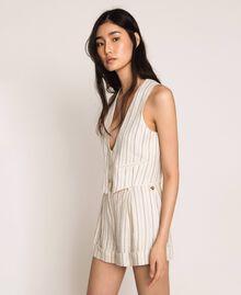 Pin stripe linen cropped waistcoat Antique White Pin Stripe / Blue Woman 201TT2304-01