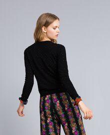 Viscose jumper with rhinestones Black Woman TA836B-03