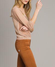 """Pull en lurex avec détail papillon Lurex Rose """"Sable Rose"""" Femme 191TT3101-02"""