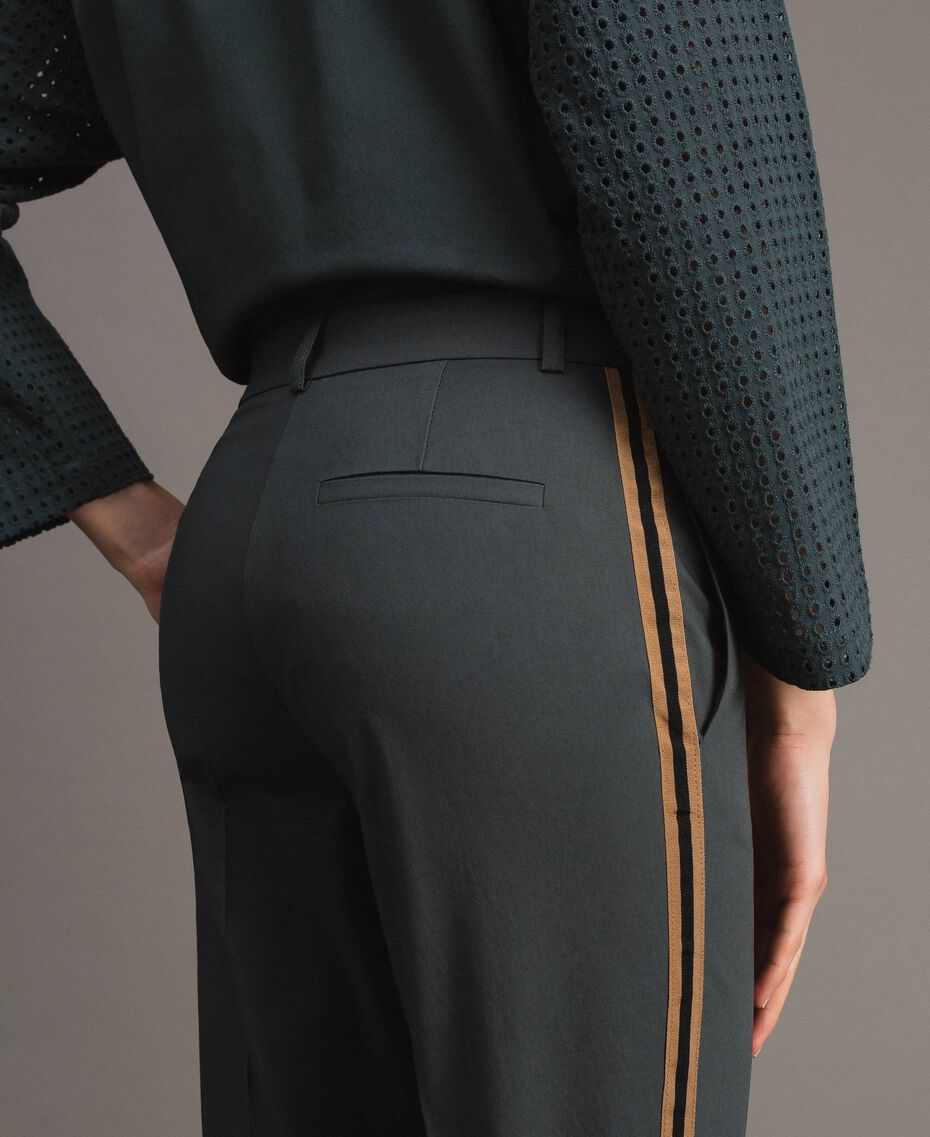 Pantalon en popeline à coupe cigarette Sous-bois Femme 191ST2040-05