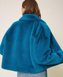 Faux fur jacket Blue Baltic Blue Woman 202TP2334-04