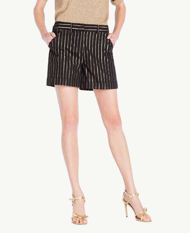 Jacquard shorts Black Jacquard / Gold Stripes Woman TS82VE-01