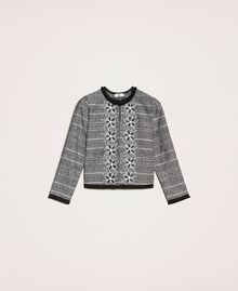 Tweed jacket with embroidery Black Woman 201LB23AA-0S