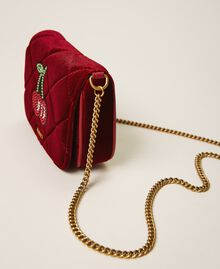Velvet shoulder bag with patch Venetian Red Woman 202TD8280-01