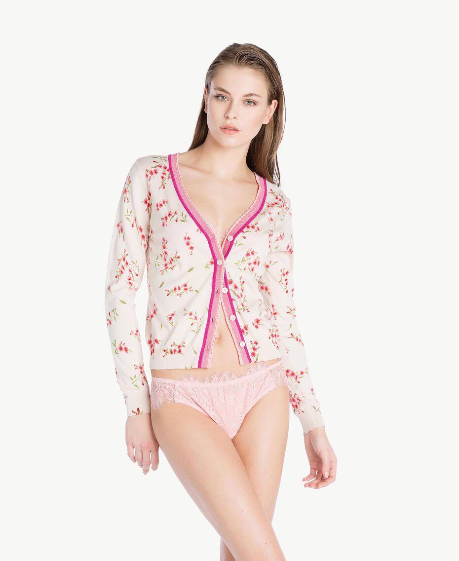 "Printed cardigan ""Peach Powder"" Pink Microflower Print Woman LS8BTT-02"