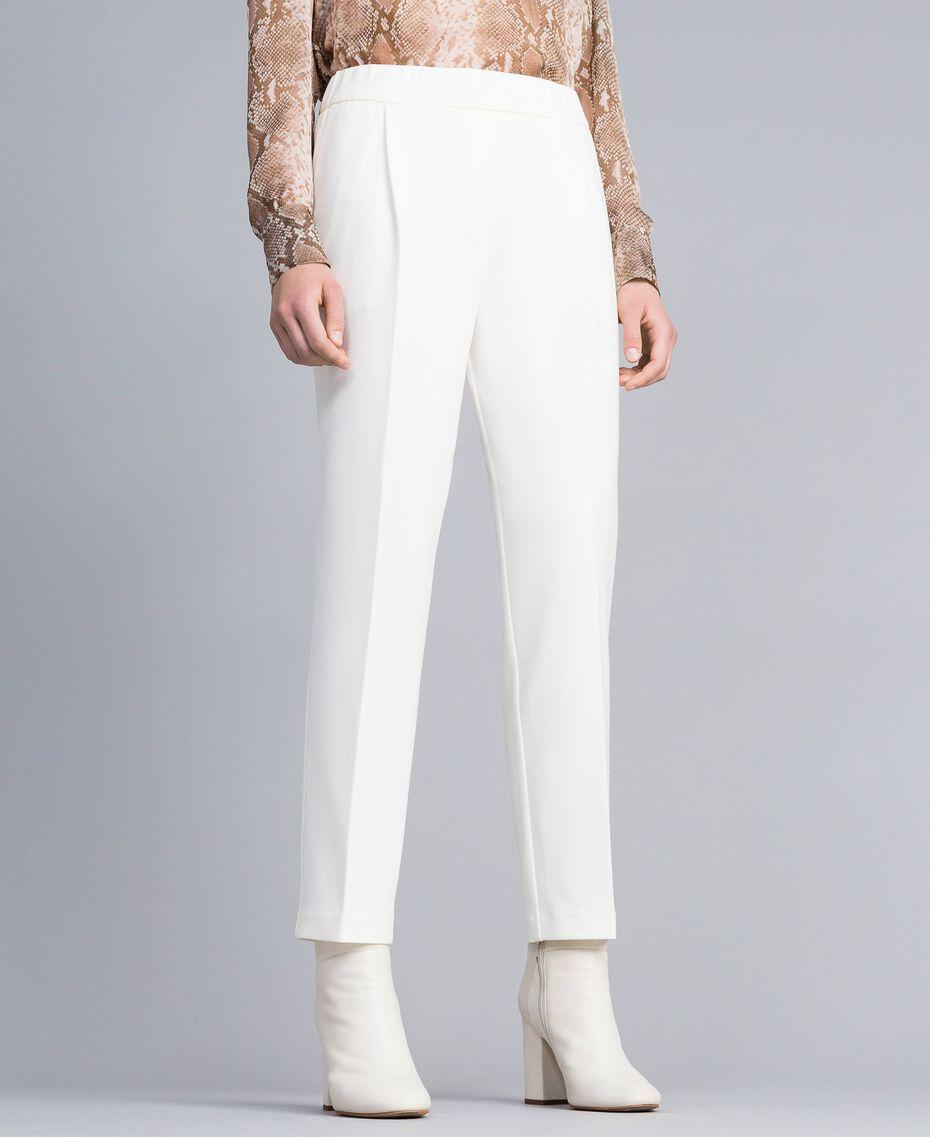 Pantalon de jogging en point de Milan Blanc Neige Femme PA821V-02