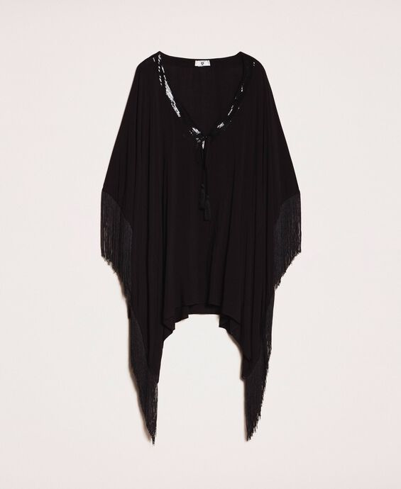 Kimono-style kaftan with fringes