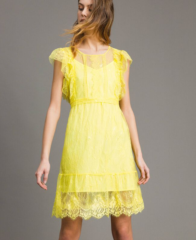 Chantilly-Kleid mit Spitze und Gürtel Schwarz Frau 191ST2121-01