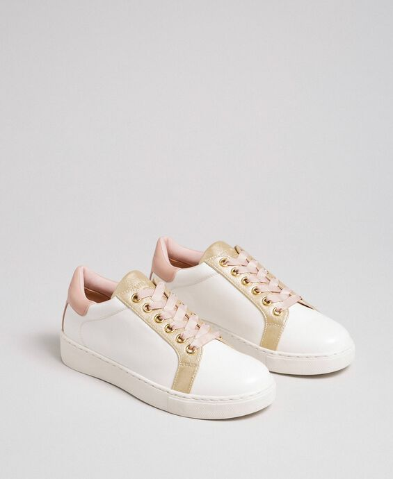 Faux leather trainers with satin laces