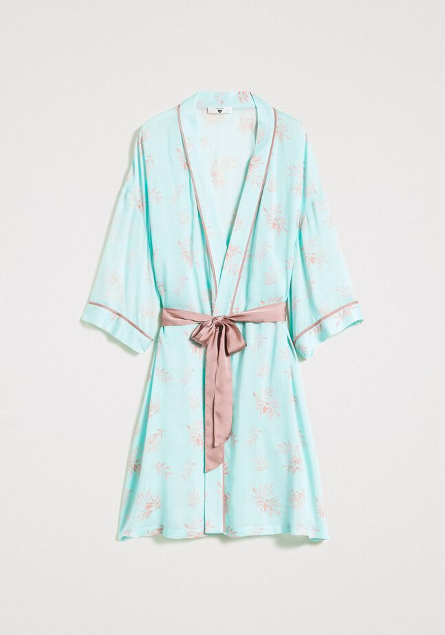 Floral print jacquard dressing gown