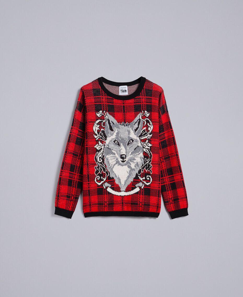 """Maxi check jacquard jumper """"Poppy"""" Red / Black Check Wolf Jacquard Woman YA83HN-0S"""