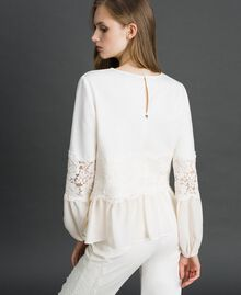 Blouse with macramé lace and flounce White Snow Woman 192TT2213-04