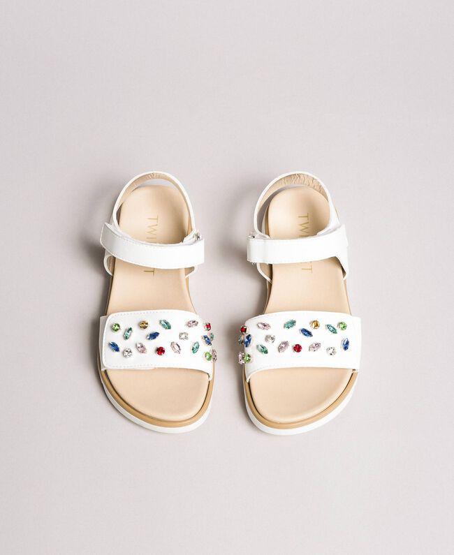 Sandals with multicolour rhinestones White Child 191GCJ150-04