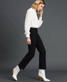 Cigarette trousers in technical wool Black Woman 192TP2356-02