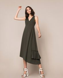 Long asymmetric dress with flounce Elm Green Woman 201ST2142-04
