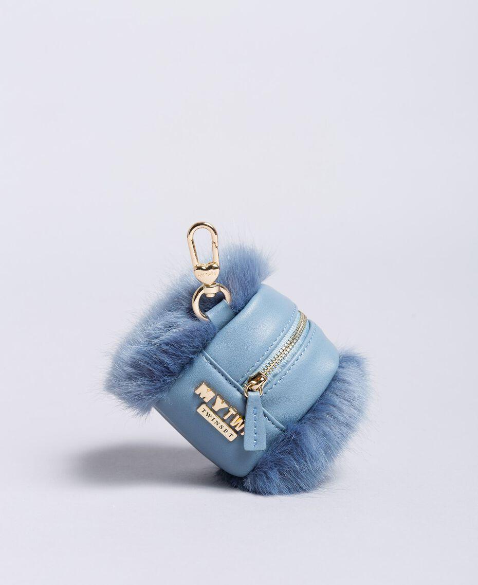 Porte-monnaie avec fausse fourrure Bleu Denim Femme RA8TJB-01