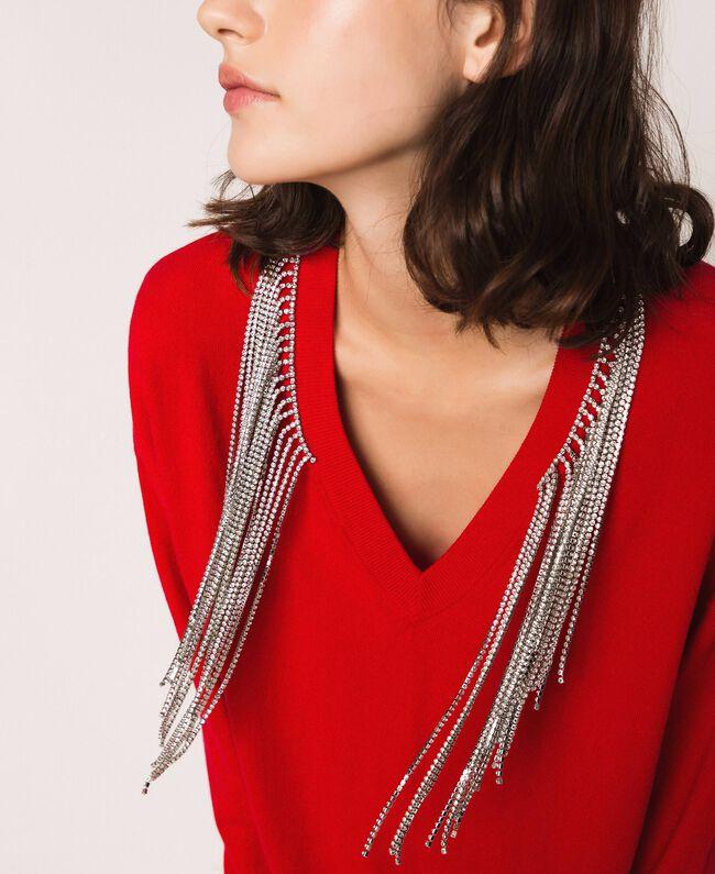 """Платье с бахромой из стразов Красный """"Лава"""" женщина 201TP3080-04"""