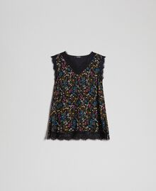 Floral print top with lace Black Micro flower Print Woman 192MP222A-0S