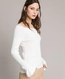 Pullover mit Streifendessin Weiß Schnee Frau 191TP3272-03