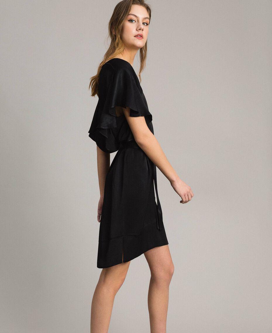Robe en satin avec ceinture Noir Femme 191TT2450-02