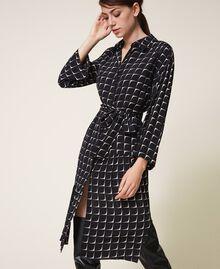 "Printed crêpe de Chine shirt dress Black /""Nude"" Beige Optical Print Woman 202ST2501-04"