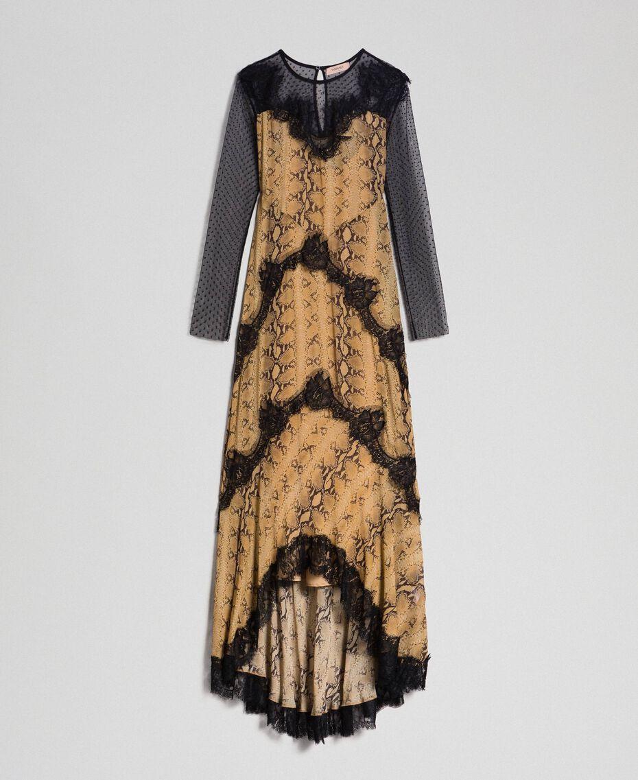 Robe longue en crêpe georgette à motif animalier Imprimé Python Camel Femme 192TT2271-0S