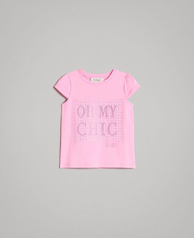 """Stretch-T-Shirt aus Baumwolle mit Strass """"Crystal Pink"""" Kind 191GB2462-01"""