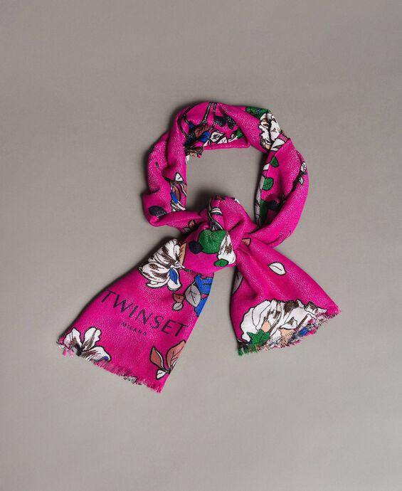 Floral print lurex viscose scarf
