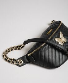 Quilted leather belt bag with butterfly Black Woman 192TA7104-03