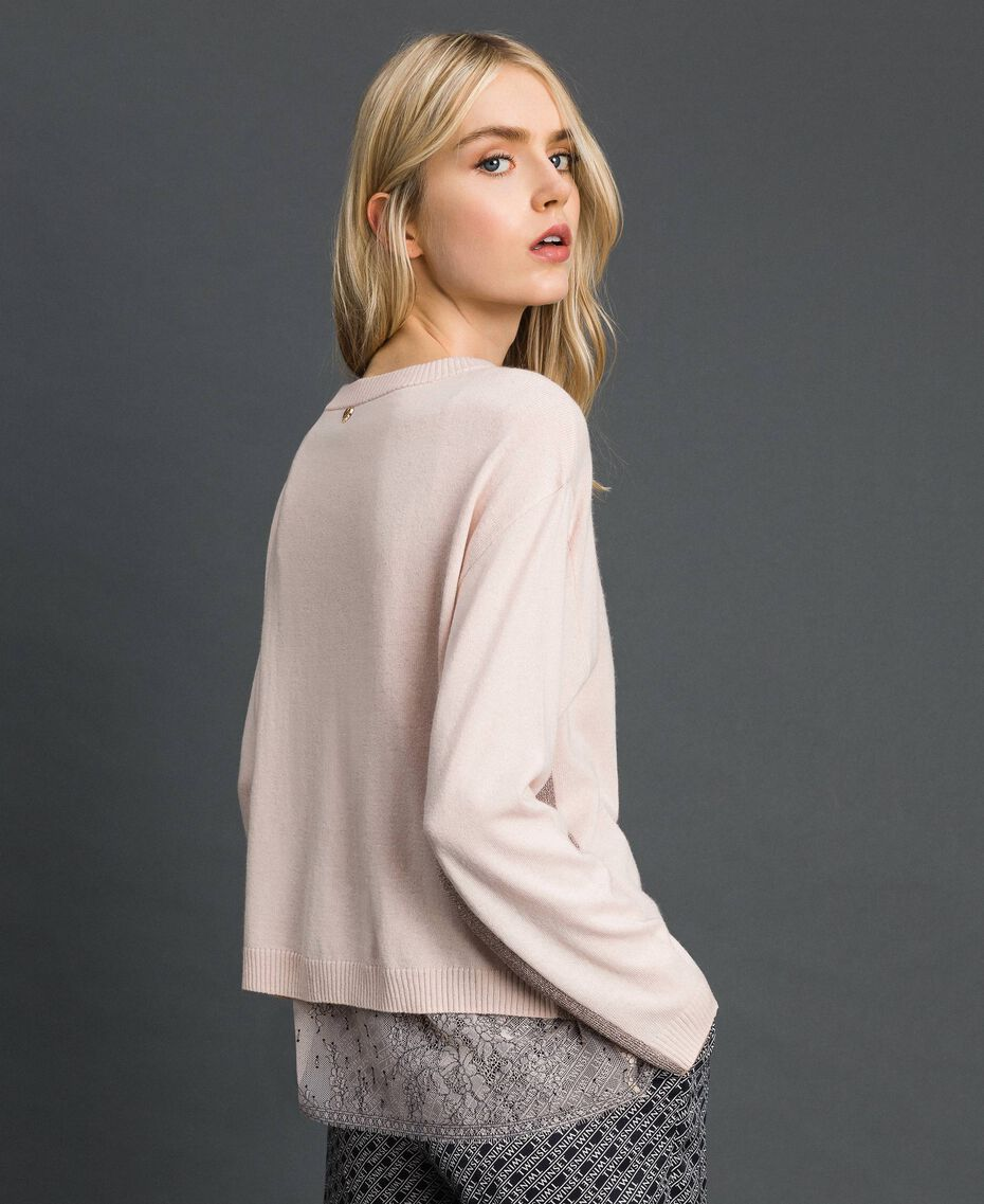 Kastiger Pullover mit Unterhemd Durchschnittgrau-Mélange Frau 192MP3101-02