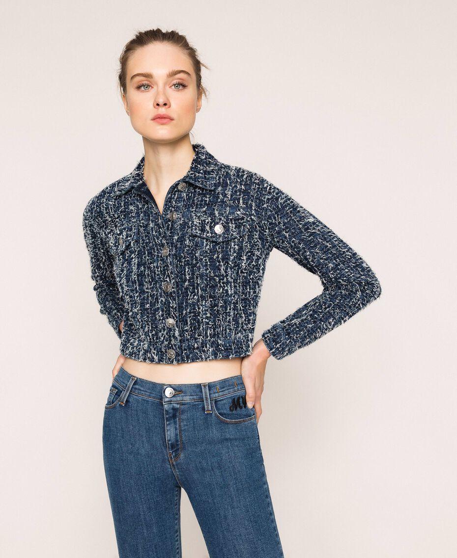 Denim jacket with bouclé Denim Blue Woman 201MP234A-01