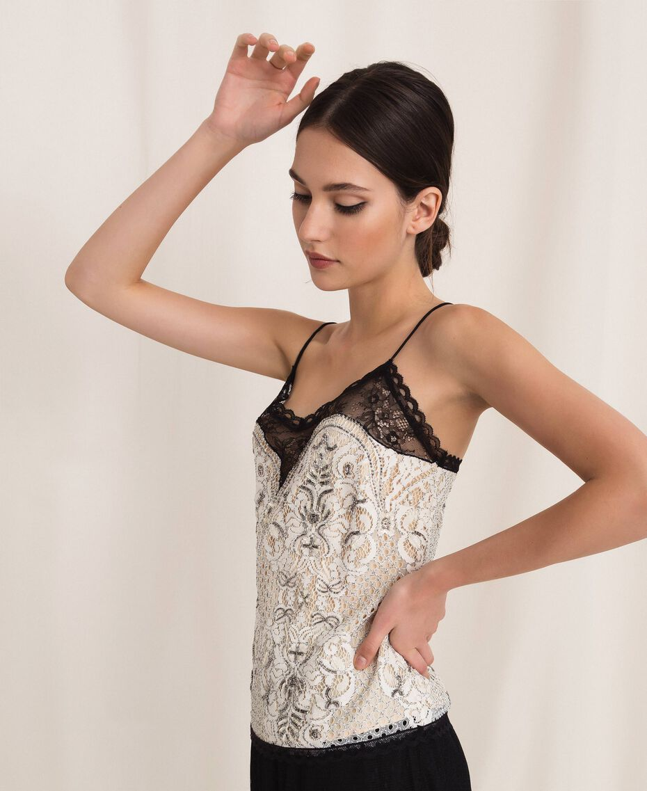 Lace top with embroidery Ivory Woman 201TP2461-02