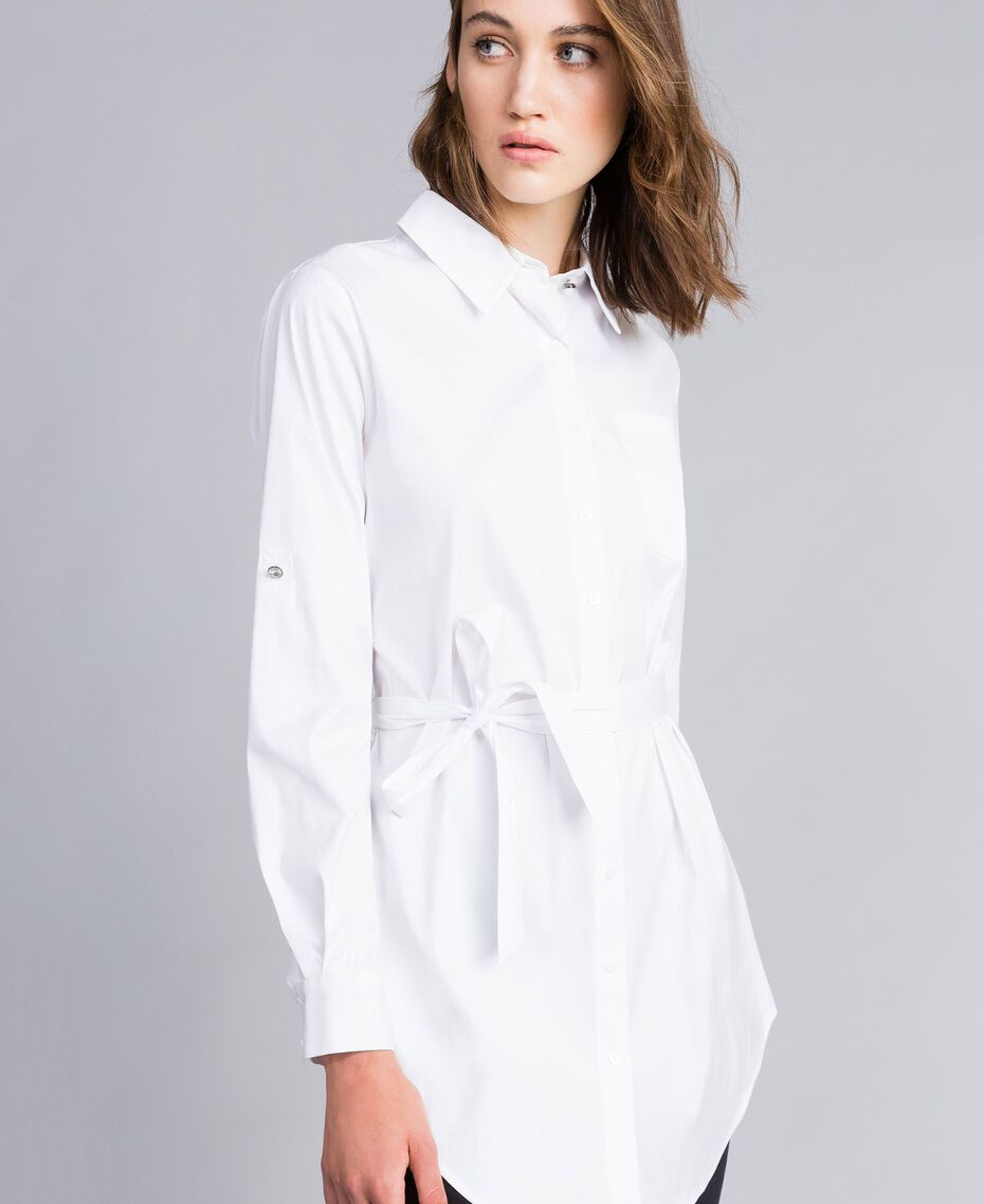 "Stretch poplin long shirt ""Ice"" White Woman JA82JA-05"