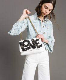 Faux leather shoulder bag with patch White Cream Woman 191MA7071-0S