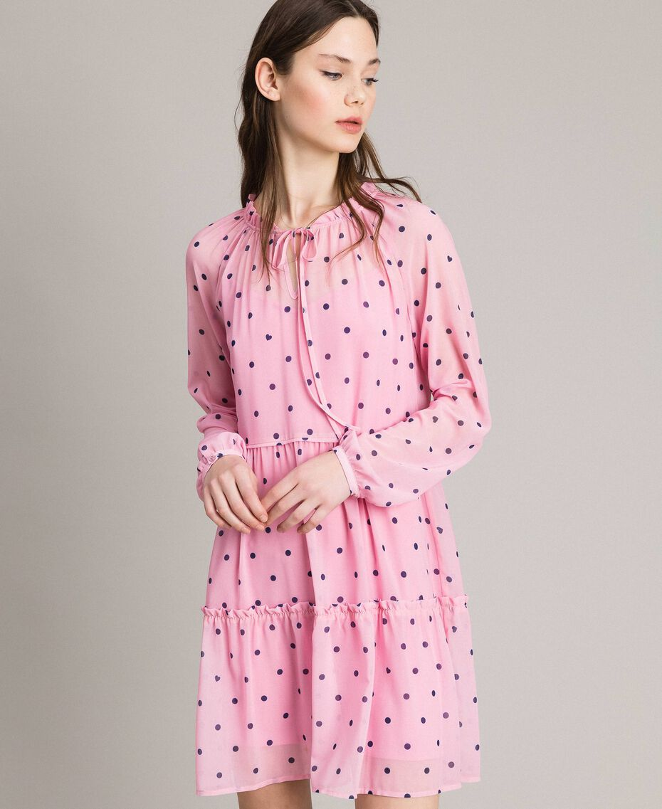 Georgette polka dot dress with flounces Hydrangea Pink Heart Polka Dot Print Woman 191MP2336-01