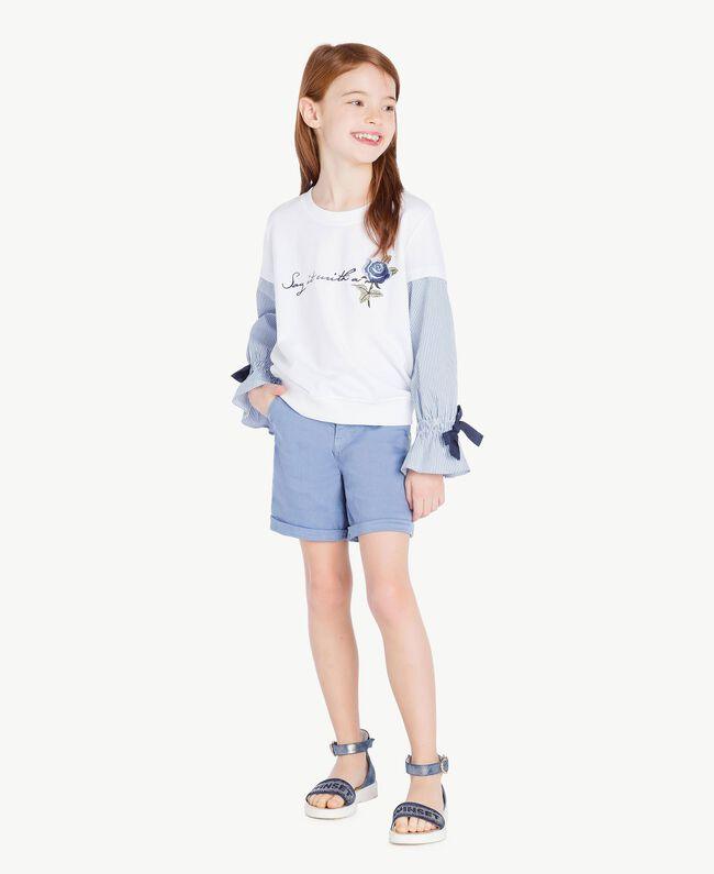 Sweatshirt aus Popeline Jacquard Papyrusweiß / Azur Kind GS82LU-06
