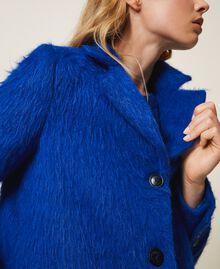 Mantel aus gerautem Tuch Dunkles Kornblumenblau Frau 202TP2602-04