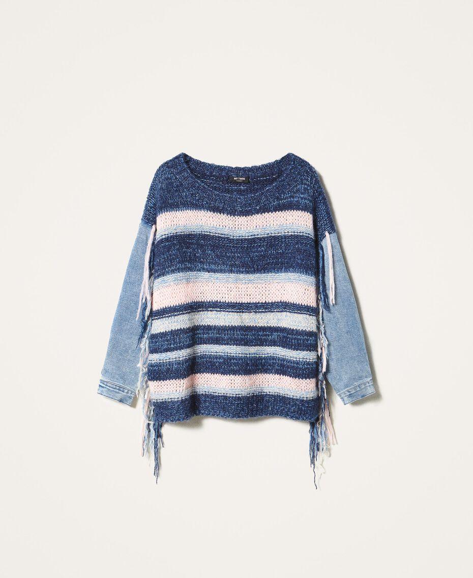 Трикотажная кофта с джинсовыми рукавами Разноцветный Смешанный Синий Трикотаж / Светлый Деним женщина 202MP3466-0S