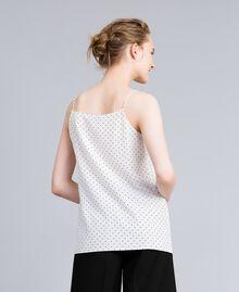 Top en soie avec petits cœurs Imprimé Cœurs Blanc Neige/ Noir Femme PA82N5-03