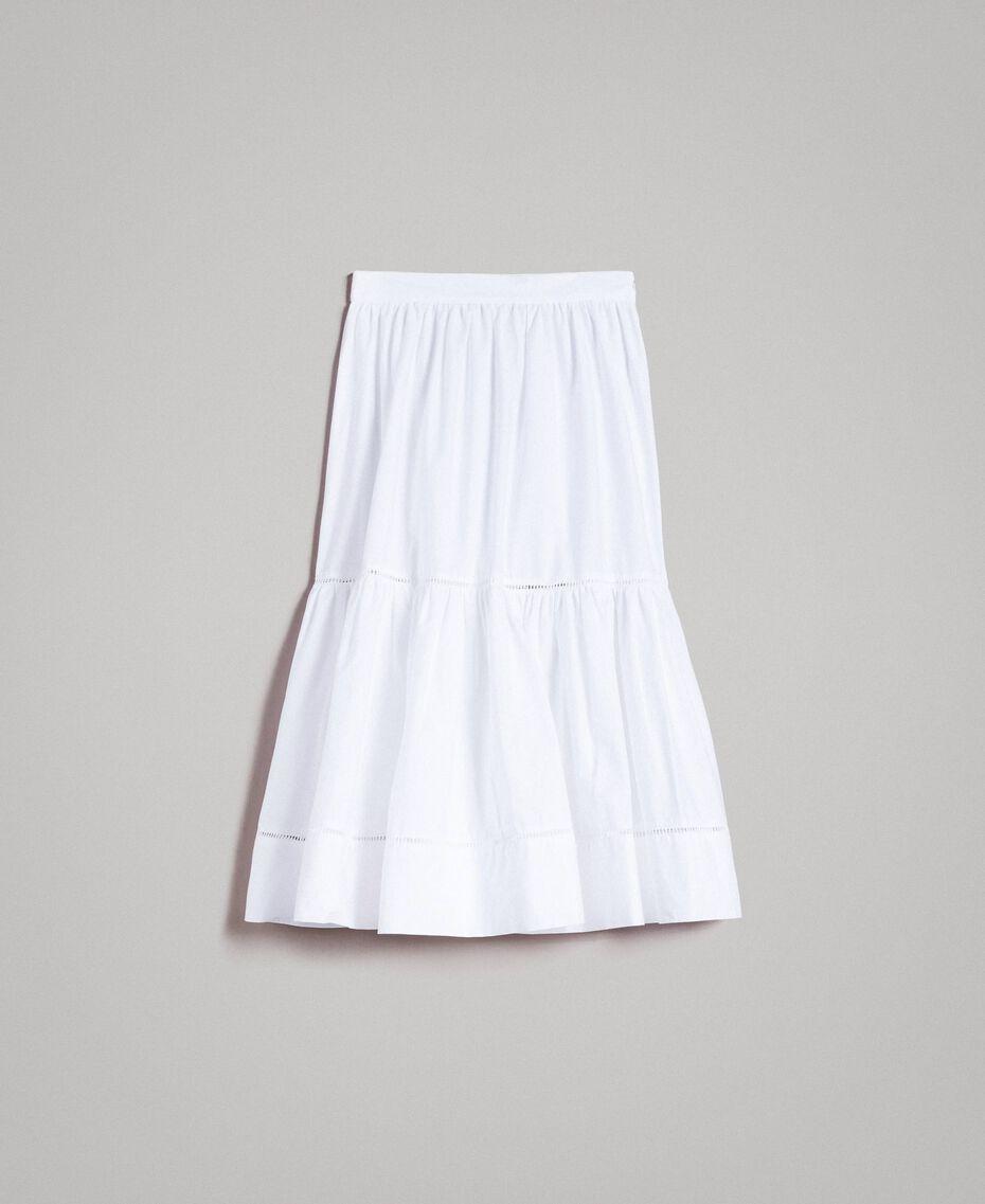 Jupe mi-longue en popeline Blanc Femme 191TT224B-0S