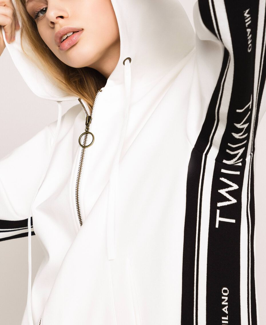 Maxi sweat avec logo jacquard Ivoire Femme 201TP2070-01
