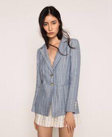Double breasted pin stripe linen blazer Blue Pin / Antique White Stripes Woman 201TT2303-05