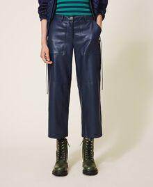 Pantalon cropped en similicuir Bleu Blackout Femme 202LI2GAA-04