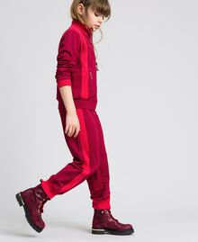 "Colour block sweatshirt with zip and jogging trousers Ruby Wine / ""Candy"" Fuchsia Child 192GJ2240-03"