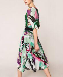 Pleated georgette midi skirt Black Scarf Print Woman 201MP2363-03