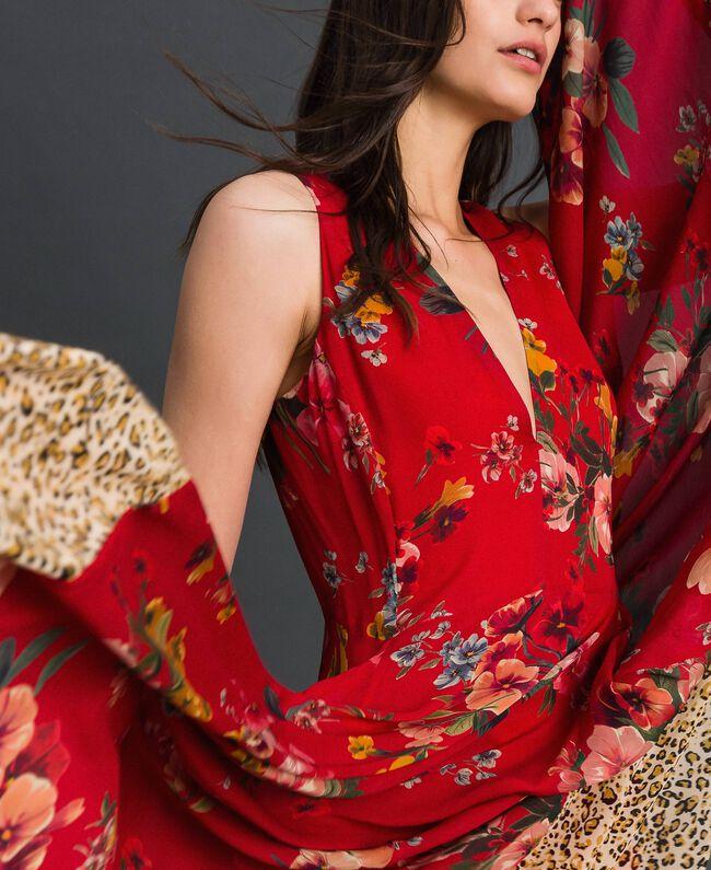 Kleid aus Georgette mit Blumen-Animal-Print Feldblumenprint Granatapfel Frau 192TP2750-04