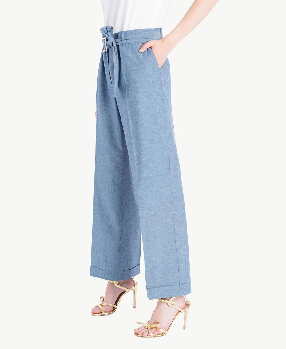 Cropped trousers Light Blue Denim Woman TS82YB-02
